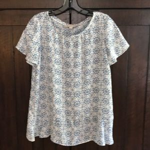 Blue and White Patterned Top